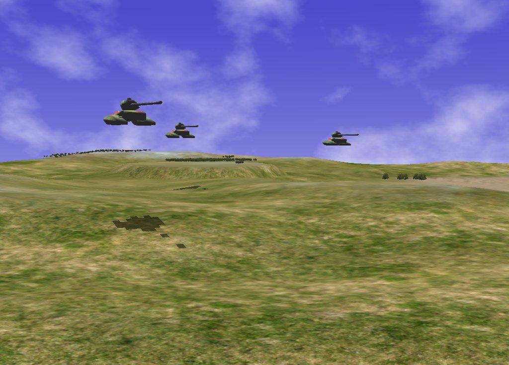 Sentinel game engine showing hover tanks